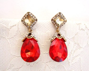 Hollywood Red Ruby Earrings Gold Dangle Earrings Wedding Jewelry Bridesmaid Gift Bridal Jewelry Pear Round CZ Zirconia Drop Crystal