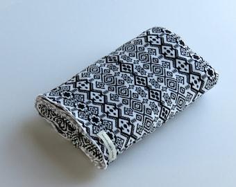 Large Cotton Jersey Knit Baby Swaddle/Receiving Blanket - Boy/Girl - Bohemian Black & White Design