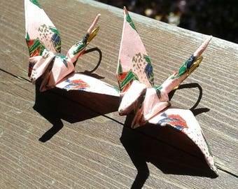 Paper crane earrings - pink