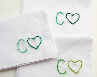 Custom Monogram Handkerchief Custom Embroidered Accessory Personalized Bridesmaid Hankie Monogram Hankie