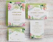 Watercolor Floral Wedding Invitation, Printable Spring Floral Wedding Invitation, Garden Wedding Invite, Outdoor Wedding