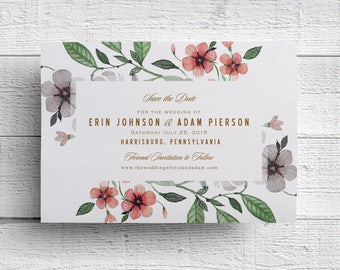 Watercolor Floral Wedding Save the Dates, Printable Save the Dates, Outdoor Wedding, Spring Wedding, Garden Wedding, Wedding Printables