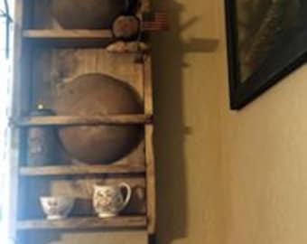 Primitive Wooden Bowl Rack, Rolling pin Rack