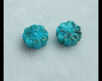 Carved Turquoise Flower Gemstone Cabochon,10x4mm,1.5g