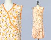 1920s Dress / 20s Deco Cotton Day Dress / Orange Citrus Floral / Summer Dress