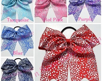 Cheer Bow Pick 5 Silvery Holographic Dot