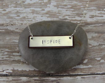 Leather & Silver Bar Necklace- Essential Oil Diffuser Jewelry - Bar Necklace - Inspirational Necklace - Simple - Minimalist - Inspire