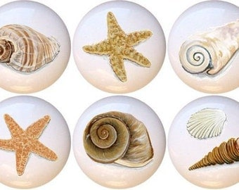 Set of 10 Artistic Seashells Ceramic Drawer Pull Cabinet Knobs