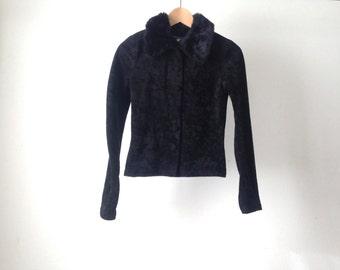 90s velvet GRUNGE BLACK goth petite faux fur JACKET coat