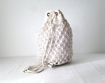 white MESH backpack mid 90s discolored DRAWSTRING faded unique BACKPACK