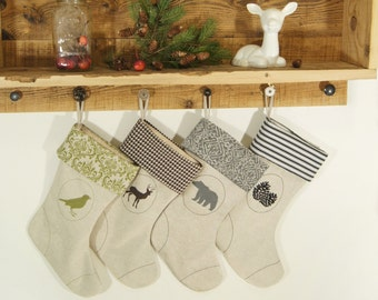 Reserved - Personalized Christmas Stockings - Set of Four (4) - Rustic Woodland Decor - Choose front image, color and pattern combination