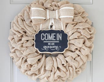 Summer Wreath for Front Door, Unique GiftsFor New Home Front Door Welcome Sign Custom Wreath, Personalized Gifts For Mom, Fixer Upper Decor