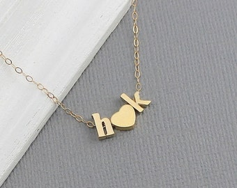 Tiny Gold Letter Necklace - Personalized Initial Heart Necklace, Gold Love Necklace, Letter and Heart, Minimalist, Bridesmaid, Wedding