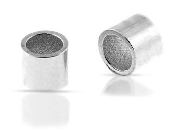 Crimp, Beads, Medium, Sterling Silver, 2x2mm (ID 1.4mm) - 100 Pcs Wholesale Price (11610)/1
