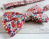 Red Liberty Print Bowtie With Saturday Shipping