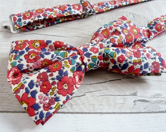 Red Liberty Print Bowtie - Pre-tied Bowtie - Blue Floral Bowtie - Tana Lawn Necktie - Gift for Husband - Fathers Day Gift - Floral Wedding