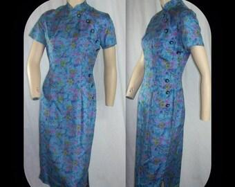 ON SALE Vintage 1960s Mad Men Asian Blue Flower Silk Dress XS S B35-36