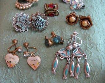 Earrings, clip back, screw type, 8 pairs