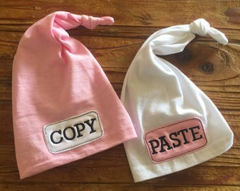 Twin Newborn Hats - Twin Hats - Newborn Knot Hats - Twin Baby - Twin Baby Girls - Copy Paste Hats
