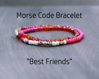 Best Friend Morse Code Bracelet, Best Friend Bracelet, Best Friend Gift, Best Friend Birthday Gift, Best Friend Bracelet Set, BFF Bracelet