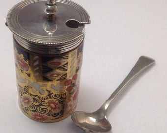 Antique Mustard Pot with Spoon Staffordshire Davenport 1910 FREE SHIPPING