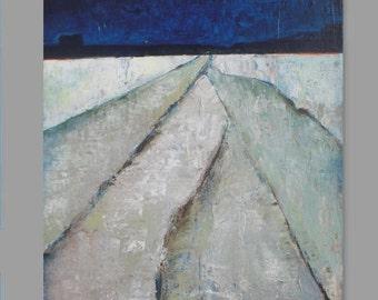 "Winter Fields - original oil painting - abstract landscape painting - indigo art abstract painting gallery  Canvas 18""x24"" - wall art"