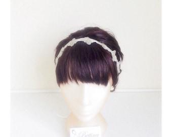 Silver Beaded Headband - silvery grey glass beaded headband (or belt). Handmade by Bettina Millinery.