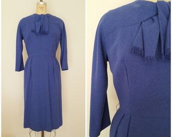 Vintage 1960s Wool Dress / Wiggle Dress / Scarf Dress / Medium