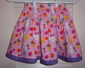 Twirly Skirt, Size 4, Kitty Cat faces, bows, basket of flowers, little yellow chicks
