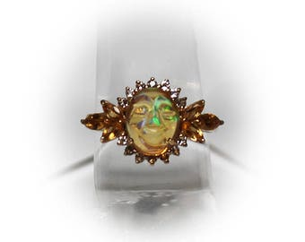 Sterling Silver Opal Fashion Ring with Yellow Gold Finnish