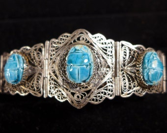 "Sterling Silver Egyptian Revival Filigree Clay Scarab Beetles 7.5"" Bracelet #2257"