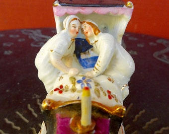 Lovely Victorian 19th C Antique Fairing Porcelain Figurine Couple Last in Bed to Put Out the Light with Candle European