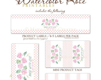 Watercolor Rose Tags for Crochet, Knit, Handmade Items
