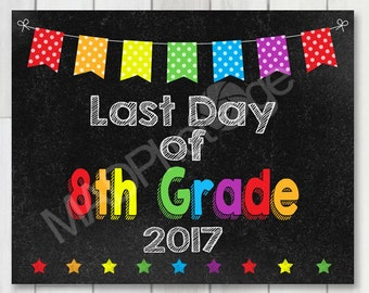 Last Day of 8th Grade Chalkboard sign, Instant Download, Last Day of School, Back to school sign 8x10 printable, Grad sign, class of 2017