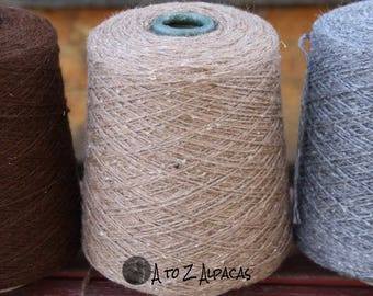 100% Alpaca Yarn - Aran Weight - Natural Medium Fawn - 1358 yards - On a convenient cone