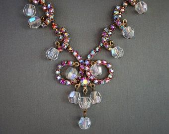 SALE Vintage Rhinestone Cha Cha Necklace Iridescent Aurora Borealis