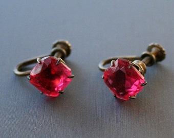 Vintage Raspberry Pink Cushion Cut Sterling Silver Earrings Art Deco Earrings Magenta