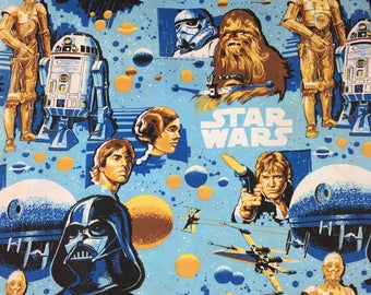 Vintage 80s Kids Bed Sheet Star Wars Twin Bed Flat Sheet