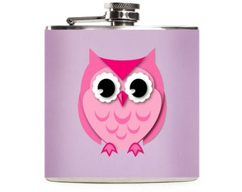 Owl Flask, Purple and Pink, Cute Girly Flask for Women, Owl Gift, Bridesmaids, Custom, Stainless Steel 6oz Hip Flask