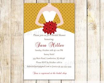 Red Gold Bridal Shower Invitation Bride Dress Invitation Red Gold Invitation Polka Dots Sweet 16 Quinceanera 16th 15th Printable Invitations