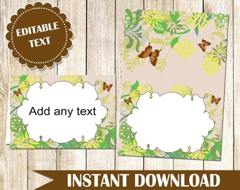 Nature Buffet Food Label - Buffet Label - Printable Food Label Party Label Food Card Wedding Place Card Garden Seating Card INSTANT DOWNLOAD