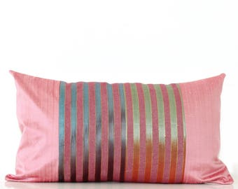 Pink boho pillow cover: pink silk pillow with colorful stripes and gold thread, global decor, bohemian pillow