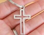 The CROSS Keychain..silver. antique silver charm. cross jewelry. jesus. christian. retro. kitsch. boho. metal. urban. hipster. urban. unisex