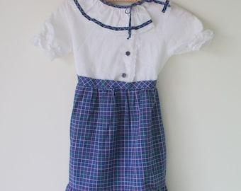 1960s MID CENTURY Dress...size 10 girls...hand smocked. girls. designer vintage. lace. floral. dainty. peasant. classic. wedding. farm.