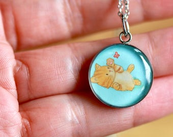 MEDIUM SIZE KITTEN pendant - Handmade resin pendant with stainless steel chain - Perfect for little and big girls