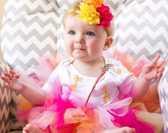 Baby tutu and flower headband set, pink yellow orange tutu, baby tutu, tutu photo prop, tutu dress, tutu skirt, tutu set, birthday tutu