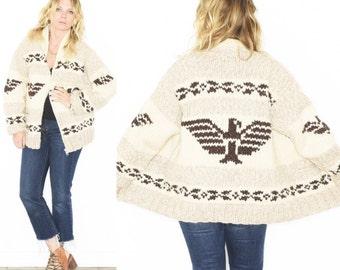 Vintage Cowichan Cardigan , Tuderbird Sweater , Native American Sweater