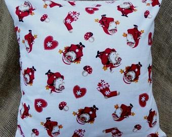 "Jolly Santa Christmas Fabric 16"" Cushion Cover"