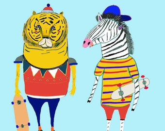 Tiger and Zebra. Limited edition art print. Illustration Art Print, kids art, nursery decor, children's wall art, kids room decor.
