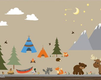 Kids Camping Wall Decor-Mountain Wall Decals-Reusable wall decal, TeePee Wall Decal-Wall Stickers-Mountains, Woods, Forest, Camper, Moose